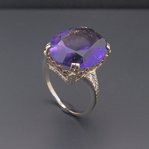 Estate Vintage 14k White Gold Amethyst Ring