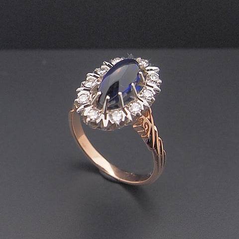 Estate Vintage 14k Rose Gold Soviet Era Sapphire and Diamond Ring