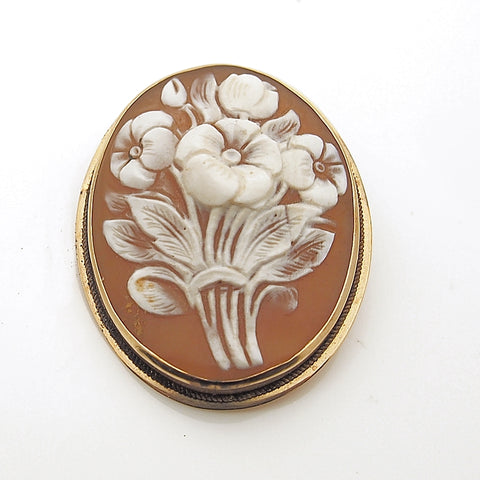 14k Vintage Carved Flower Cameo Pin