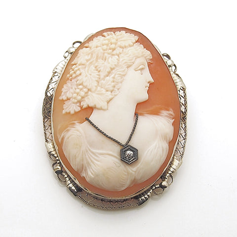 Vintage 14k Large Cameo with Diamond Pendant