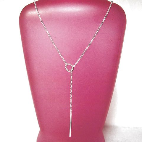 Sterling Silver Circle Bar Lariat Necklace