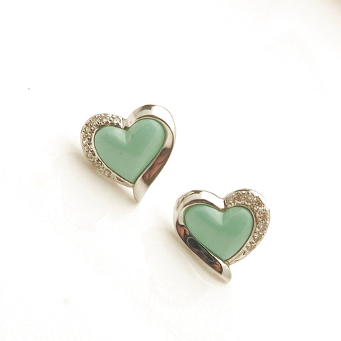 18k White Gold Turquoise and Diamond Heart Earrings