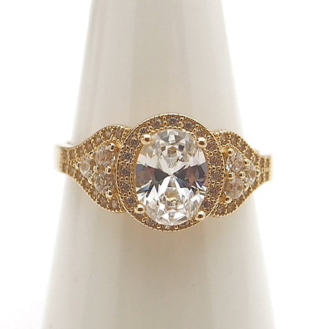 14k Oval  CZ Engagement Ring