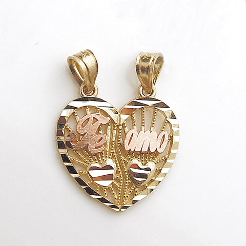 14k Yellow Gold Split Heart TE AMO Rose Gold Pendant