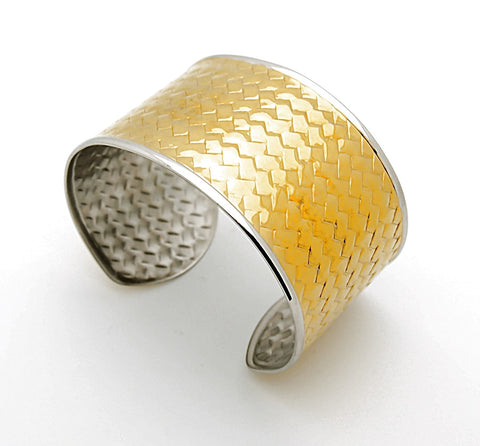 Stainless Steel Two Tone Wide Cuff Bangle