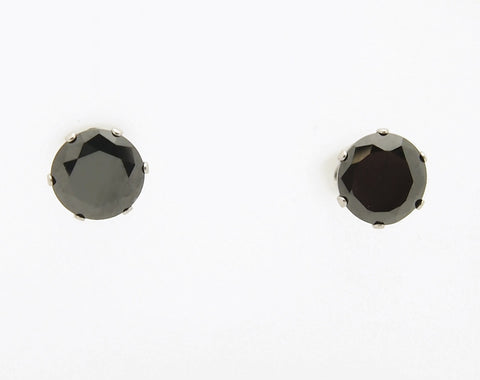 Inox Stainless Steel Black CZ Stud Earrings