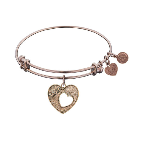 "Antique Pink Stipple Finish Brass Heart with ""Mom and Open Heart"" Angelica Bangle"