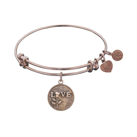 "Antique Pink Stipple Finish Brass ""Love w/Rose"" Angelica Bangle"