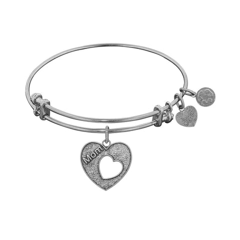 "Antique White Stipple Finish Brass Heart with ""Mom and Open Heart"" Angelica Bangle"