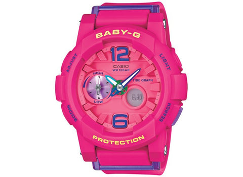 Baby-G Women's Analog-Digital Pink Resin Strap Watch BGA180-4B3