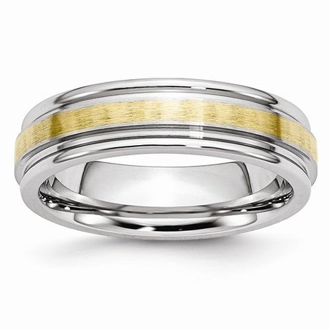 Cobalt 14k Gold Inlay Satin And Polished 6mm Band