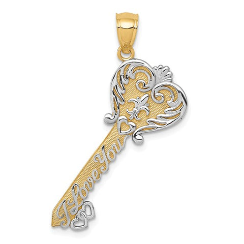 14k I Love You Two Tone Key Pendant