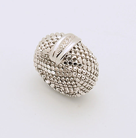 D'Landi Sterling Silver Mesh Diamond Ring