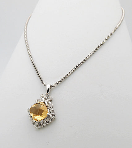 14k Diamond Yellow Topaz Pendant Necklace