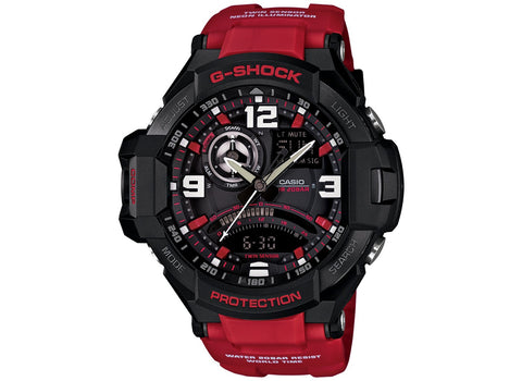 G-Shock Men's Analog-Digital Red Resin Strap Watch 51x52mm GA1000-4B