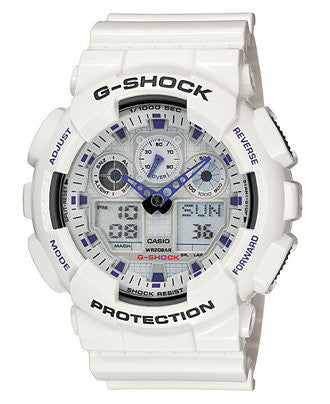 G-Shock Men's Analog Digital White Resin Strap Watch GA100A-7A