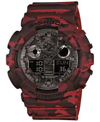 G-Shock Men's Analog-Digital Red Camouflage Resin Strap Watch GA100CM-4A