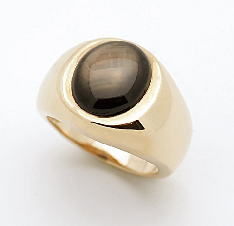 14k Mens Black Star RIng