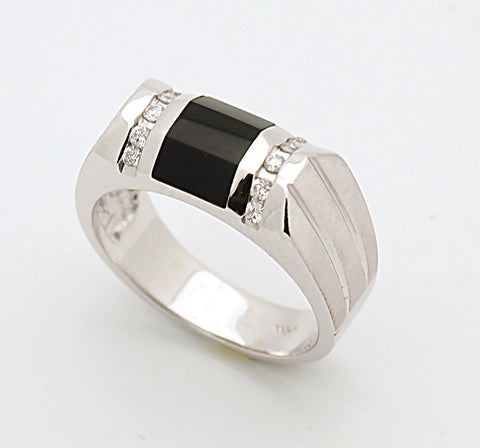 14k Mens Black Onyx Diamond Ring