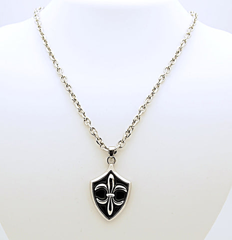 Stainless Steel Fleur di Lis Pendant Necklace