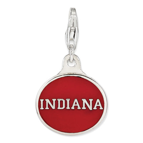 Sterling Silver Enamel Indiana Univ. W/ Lobster Clasp Charm