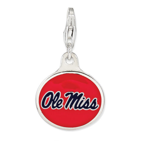 Sterling Silver Enamel Univ. Of Mississippi W/ Lobster Clasp Charm