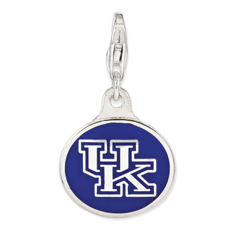 Sterling Silver Enamel Univ. Of Kentucky W/ Lobster Clasp Charm