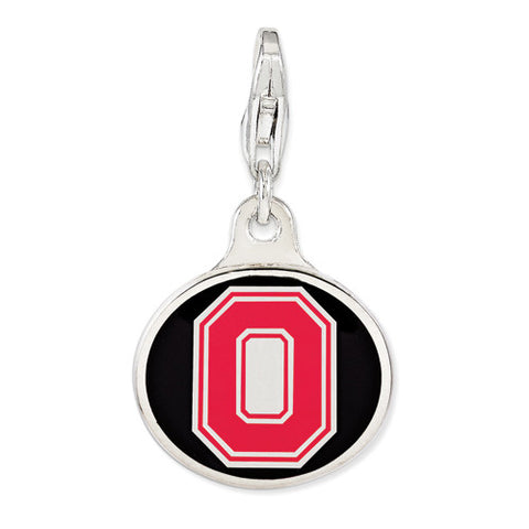 Sterling Silver Enamel Ohio State Univ. W/ Lobster Clasp Charm