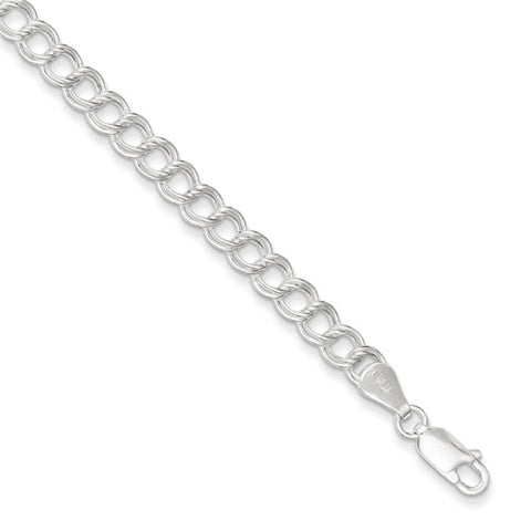 Sterling Silver Rhodium Plated Polished Charm Bracelet