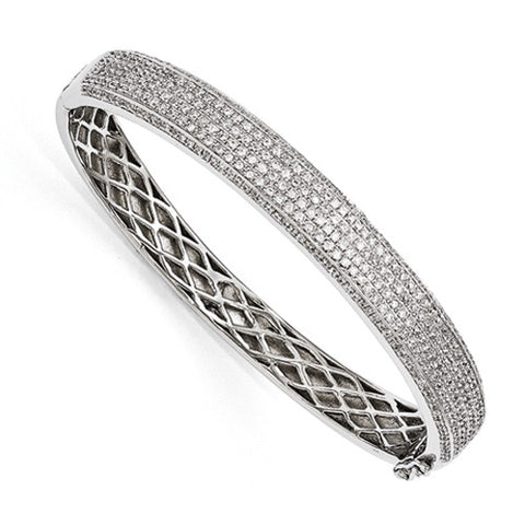 Sterling Silver & CZ Brilliant Embers Hinged Bangle Bracelet