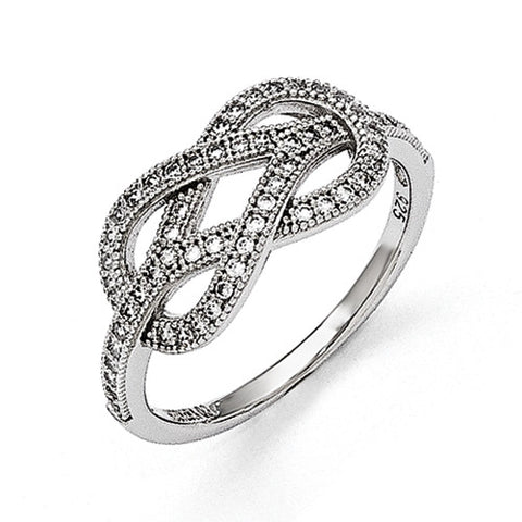 Sterling Silver & CZ Brilliant Embers Love Knot Ring