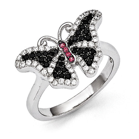 Sterling Silver & CZ Brilliant Embers Butterfly Ring
