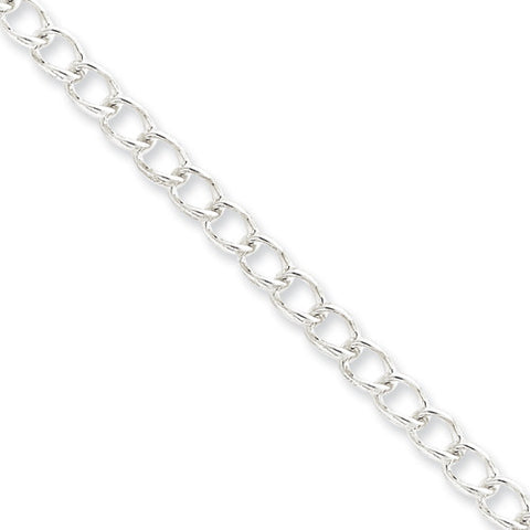 Sterling Silver Rhodium Plated Half Round Wire Curb Link Bracelet