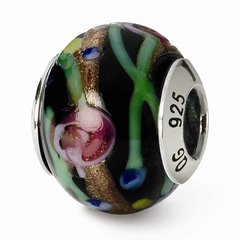 Sterling Silver Reflections Black/Green/Gold/Red Italian Murano Bead