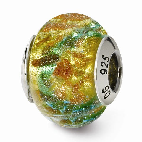 Sterling Silver Reflections Yellow/Blue/Gold Italian Murano Bead