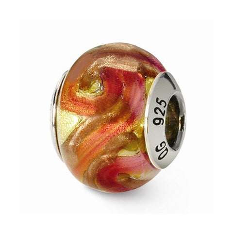 Sterling Silver Reflections Yellow/Red/Orange Italian Murano Bead
