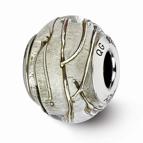 Sterling Silver Reflections Clear/Silver Striped Italian Murano Bead