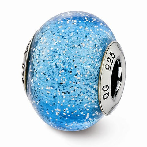 Sterling Silver Reflections Italian Light Blue W/Silver Glitter Glass Bead