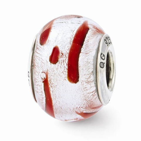 Sterling Silver Reflections Silver/Red Italian Murano Bead