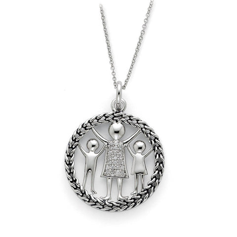 Sterling Silver Antiqued Knitted Together By Love Pendant Necklace