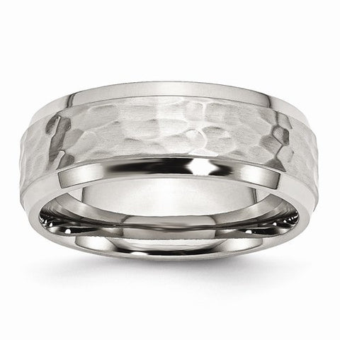 Stainless Steel Beveled Edge 8mm Hammered And Polished Band