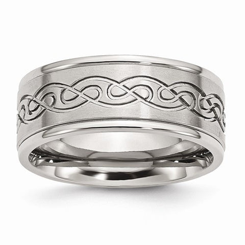 Stainless Steel Scroll Design 9mm Brushed/Polished Ridged Edge Band
