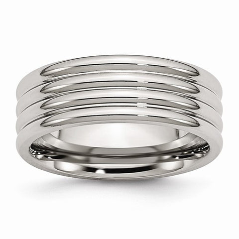 Stainless Steel Grooved 8mm Polished Band