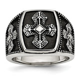 Stainless Steel Polished And Antiqued Cross Ring