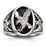 Stainless Steel Polished Enameled Eagle Ring