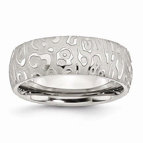 Stainless Steel Brushed & Polished Textured 8mm Band