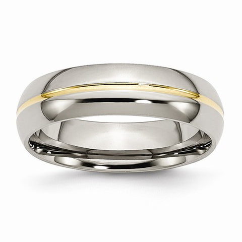 Titanium Yellow IP-Plated Grooved 6mm Polished Band