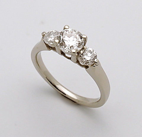 14k White Gold Three Stone Diamond Engagement Ring