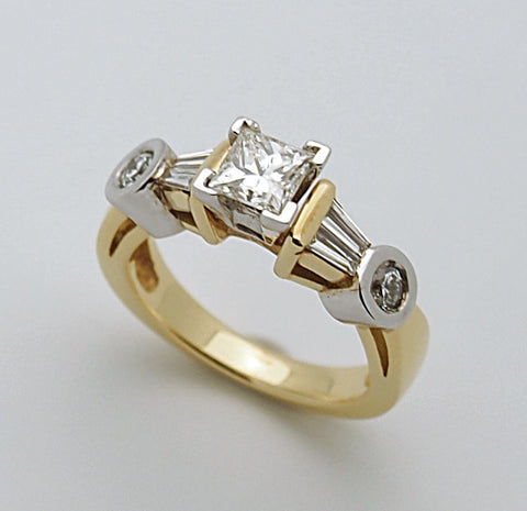 18k Two Tone Gold Diamond Engagement Ring