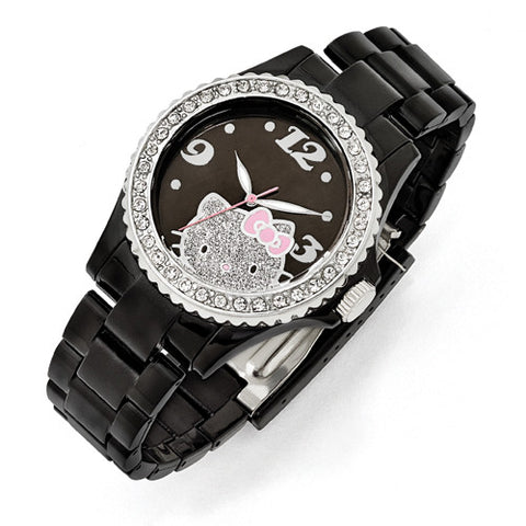 Hello Kitty Black Acrylic Case Crystal Bezel W/ Black & Glitter Dial Watch